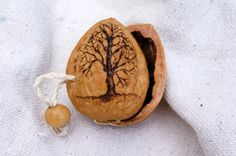 INSPIRATION Interesting way of opening it. Real Walnut Shell Case Handmade by inkblotstew on Etsy Acorn Crafts, Wood Crafts, Fun Crafts, Diy And Crafts, Arts And Crafts, Deco Noel Nature, Walnut Shell Crafts, Miniature Crafts, Shell Art