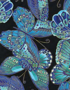 Timeless Treasures Shimmer Large Erflies Turquoise Fabric Blue Erfly
