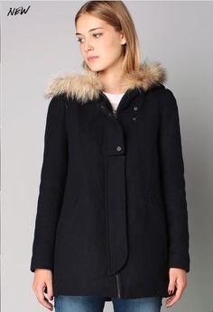 Manteau 3/4 drap de laine navy Hilda See U Soon prix promo Manteau Femme Monshowroom 219.00 €
