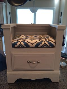 Nightstand to bench with cushion