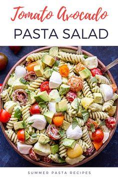 Tomatoes, fresh mozzarella balls and chunks of avocado tossed in avocado basil dressing Vegetarian Pasta Salad, Tomato Pasta Salad, Creamy Pasta Salads, Avocado Pasta, Avocado Dishes, Summer Pasta Recipes, Pasta Salad Recipes, Healthy Side Dishes, Salad Ingredients