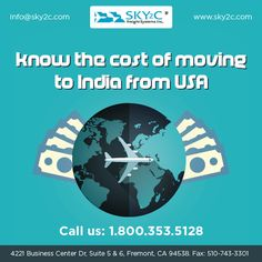 Moving Back to India is So easy with Sky2c Freight Systems Inc. Sky2c Provide Freight Shipping, Moving and Relocating Service to India From Last 14 Years. Call us for Quotes - +1 800-353-5128