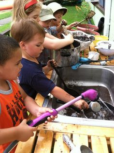 Art and Soul Preschool's Mud Kitchen in full swing
