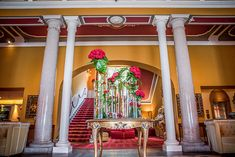 Lake Como Italy Villa Balbiano Interior Columns Flowers