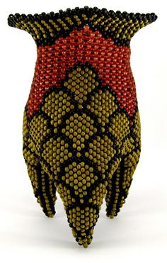 "Julia, S. Pretl, Artist, Serpent, vessel,  peyote stitch, glass beads, Dimensions: 2.53"" wide x 3.5"" tall"