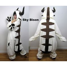 Sky Bison Kigurumi Ready-to-Ship Handmade Anti-Pill Fleece Onesie (340 CAD) ❤ liked on Polyvore featuring black and women's clothing