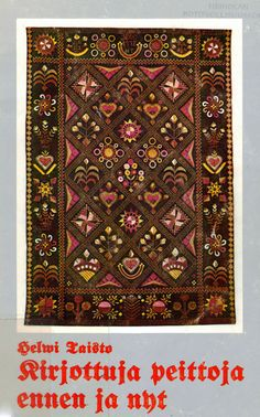 Rekkipeito: Traditional Finnish woolen embroidery. These woolen blankets were used in sleighs during winter time. Scandinavian Embroidery, Swedish Embroidery, Wool Embroidery, Embroidery Designs, Tapestry Weaving, Winter Time, Pretty Flowers, Finland, Bohemian Rug