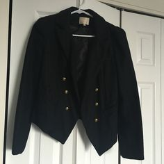 ♠️Black Wool Blazer♠️ Bought it from a boutique                           Made from wool(sale person told me that), can't find the material tag, but it's warm          Size medium but runs small, so would be better fit for size small Jackets & Coats Blazers