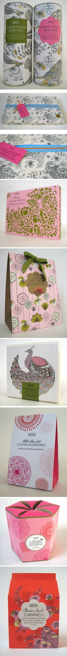 Marks & Spencer packaging by illustrator Millie Marotta. Love the style and use of gold foil for added luxury.