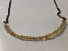 Sterling Silver Faceted Citrine Bead Necklace.