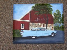 oil painting of my bro. Bills 59 caddy for his birthday.