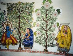 Madhubani wall painting at the Craft Museum in New Delhi