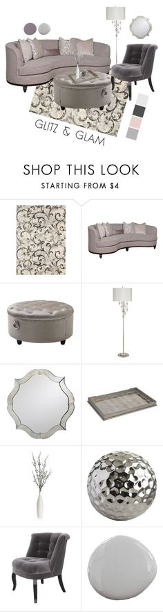 """Glitz and Glam in Gray"" by chrissykp ❤ liked on Polyvore featuring interior, interiors, interior design, home, home decor, interior decorating, Kathy Ireland, Universal Lighting and Decor, Eichholtz and Marks & Spencer"