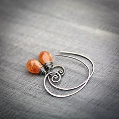 Sunstone Wire Wrapped Smooth Briolette Sterling by Mayahelena by batjas88