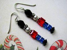 Toy Soldier Earrings  Swarovski Crystals by HappyEverythingElse