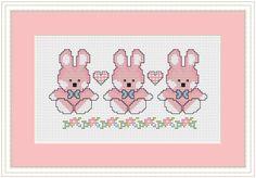 Cross Stitch  PDF Downloadable Chart  Baby Girl Bunnies