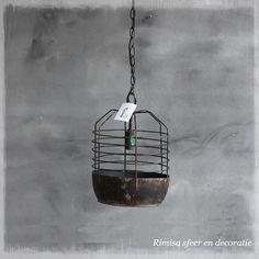 Metalen vintage hanglamp Basket 26,5x26,5x38cm