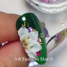 Nail Art ✰A Fashion Star✰ Nail art video tutorial❤ Star Nail Art, Star Nails, 3d Nails, Star Art, Nail Polish Art, Gel Nail Art, Nail Art Diy, Star Nail Designs, 3d Flower Nails