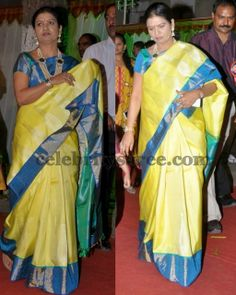 DK Aruna in Lime Yellow Silk Saree   Saree Blouse Patterns
