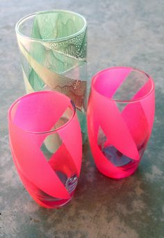 DIY Opaque Striped Glasses