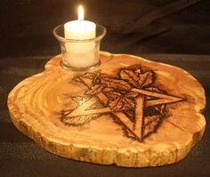 Pentacle altar or tabletop decorative votive candle or incesnse burner holder. Crafted and burned onto Eastern Red Cedar wood. Pagan Decor, Red Cedar Wood, Pagan Symbols, Wiccan Crafts, Pentacle, Book Of Shadows, Votive Candles, Pyrography, Wood Burning