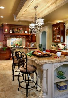 Kitchen w/Dark Cabinets, Cream Island, & Look At That Gorgeous Tray Ceiling!