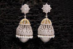 Diamond Jhumka with Massive Pearl Drop