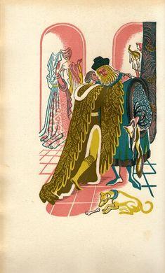 "Illustration by Dorothea Braby for Gwyn Jones' translation of ""Sir Gawain and the Green Knight"", 1952 (Golden Cockerel Press) Painted Wardrobe, Green Knight, Teaching Literature, Wood Engraving, Art Studies, Printmaking, Vintage Designs, Good Books, Fantasy Art"