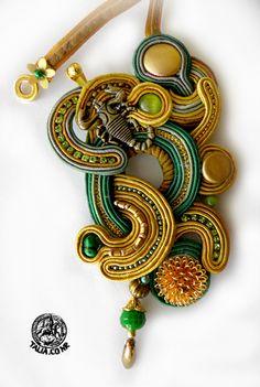 """""""The Desert"""", Soutache pendant with Scorpio"""
