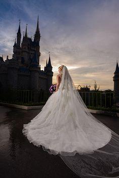 Modern princess inspired wedding dress at Disney's Magic Kingdom. Photo: Stephanie, Disney Fine Art Photography