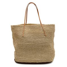 Twisted Colorblock Tote - Natural & Brown