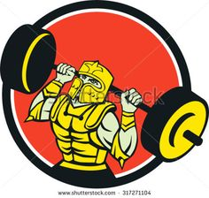 Illustration of knight in full armor lifting barbell looking up set inside circle viewed from front done in retro style on isolated background.  - stock vector #knight #retro #illustration