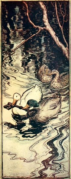 The Ducks which he had once saved, dived and brought up the key from the depths; The Queen Bee - The Fairy Tales of the Brothers Grimm, 1909