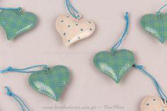 Μεταλλικές καρδιές πουά & καρό | bombonieres.com.gr