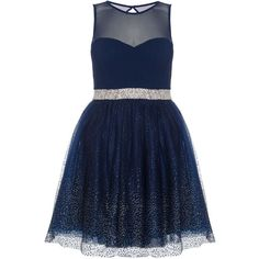 Dorothy Perkins **Quiz Chiffon Glitter Prom Dress ($83) ❤ liked on Polyvore featuring dresses, blue, dorothy perkins dress, print dresses, print prom dresses, blue print dress and glitter cocktail dresses
