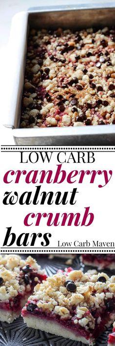 Low Carb Cranberry Walnut Crumb Bars are Sugar free
