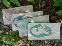 Fantasy Whirly Mermaid Decor Hand Painted Wood by TheRustiqueHand