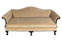Antique Mahogany Sofa w/ Velvet on OneKingsLane.com ($3,375) My mahogany sofa has been redone in a black fabric and it now has three seat cushions.