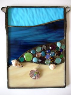 RESERVED for MYRA - Stained Glass Beach Panel with Crystals and Real Shells - Panel no.1. $105.00, via Etsy.