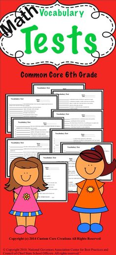 This pack of 6th grade math vocabulary tests go along with the bundle of the 6th grade common core vocabulary product in my store.   Includes: -11 math vocabulary tests -Answer keys  -125 math vocabulary words for 6th grade
