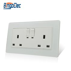 Free shipping white and black glass double 13a switched socket,13a socket with switch