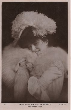 Evelyn Nesbit wearing the set of white fox furs Stanford White gave her one Christmas.