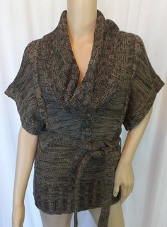 """SAY WHAT?"" BROWN WOOL BLEND COWL NECK BELTED SWEATER - PLEASE SEE ALL PICTURES"