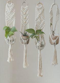 perfect little holder for small pots:) #macrameplanthanger #macramelove #macramemaker #macramesupply #hangingplanter #planthanger #handmade #vintage #etsyfinds #etsy #macramewallhanging #bohodecor #vintagemacrame #ropeplanthanger #crochetplanthanger #spiralmacrame #decorativeplanter #houseplants #plantlovergifts #giftsforher #macramehanger #verticalplanthanger #gardening #verticalgardening #macrameideas #macrameprojects #wallplanter #crafts #beadedmacrame #shorthangingplanter #smallplanthanger Hanging Wall Planters, Macrame Hanging Planter, Macrame Plant Holder, Macrame Plant Hangers, Plant Holders, Metal Plant Hangers, Rope Plant Hanger, Crochet Plant Hanger, Plant Basket
