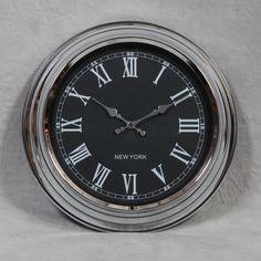 Sydney - Chrome with Black Face Wall Clock - Clocks - Home Decor