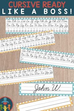 Cursive Desk Name Plates : Editable Desk Strips Improve Handwriting, Cursive Handwriting, Handwriting Practice, Penmanship, Teaching Kids To Write, Teaching Resources, Elementary Teaching, Primary Teaching, Teaching Ideas