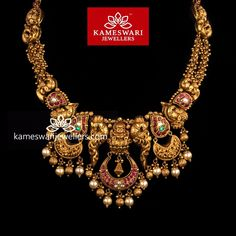 Traditional gold necklaces for women from the house of Kameswari. Shop for antique gold necklace, exquisite diamond necklace and more! Gold Temple Jewellery, Gold Jewellery Design, Gold Jewelry, Gold Necklaces, Cartier Jewelry, Quartz Jewelry, Ruby Jewelry, Tiffany Jewelry, Jewelry Shop