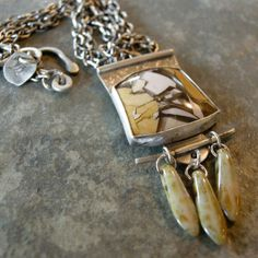 Sterling silver necklace with brecciated by coldfeetjewelry, $145.00