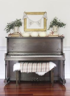 Shades of Blue Interiors Fall Home Tour.Display on piano Upright Piano Decor, Upright Grand Piano, E Piano, Piano Room, Piano Bench, Painted Pianos, Painted Furniture, Furniture Redo, Simple Living Room Decor