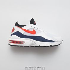 7294d9af810fb9 Mens Fsr Nike Air Max 93 Og Vintage Air Short Leg Jogging Shoes White Navy  Black Vermilion